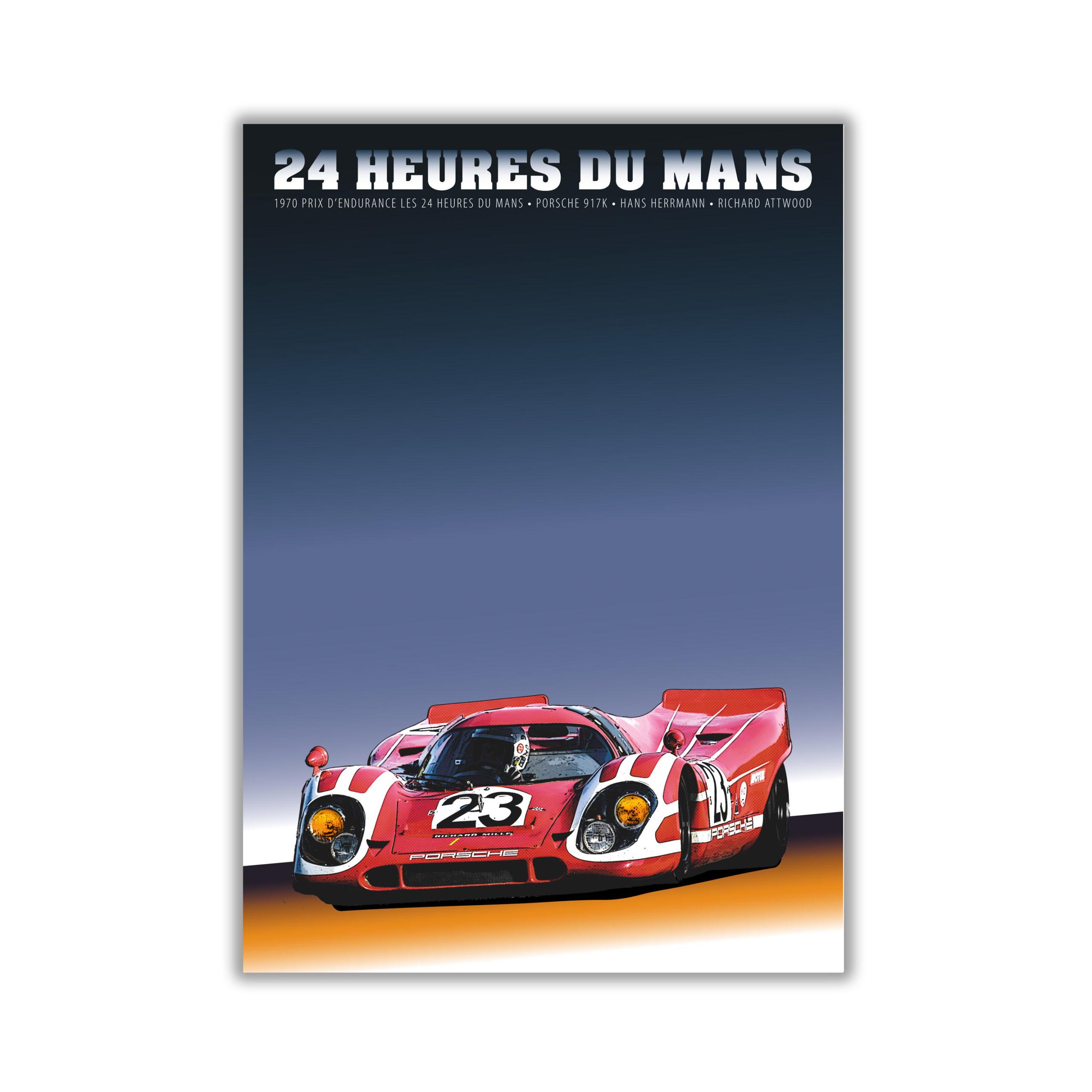 Porsche 917 Poster in weissem Alurahmen Format 70×50 cm