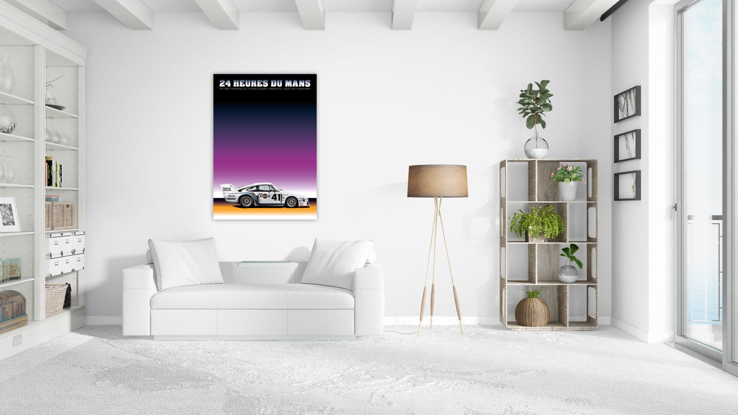Porsche 935 Poster in weissem Alurahmen Format 70×50 cm